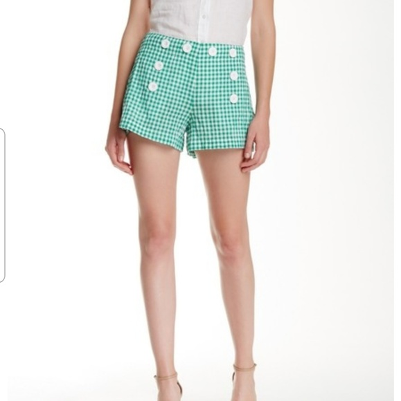 Max Studio Pants - MAX STUDIO  green and white buttons shorts